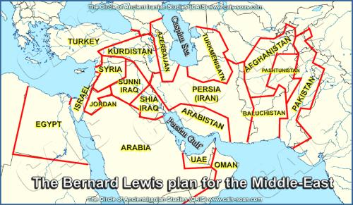 """تجزیه ایران، بازسازی نقشه ۱۳۵۷ برنارد لوئیس بنام """"کمان بحران""""[۱]"""